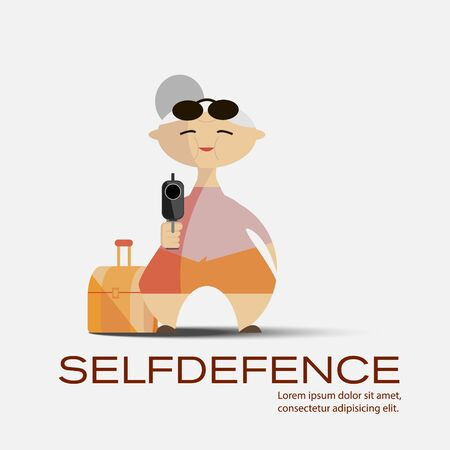 woman with gun: Old woman with a gun. Selfdefence concept vector image
