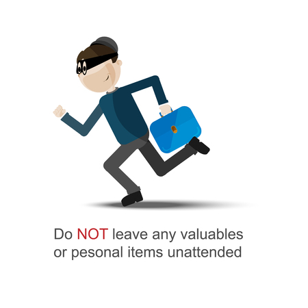 burglar man: running thief vector image. Secure life concept vector poster.