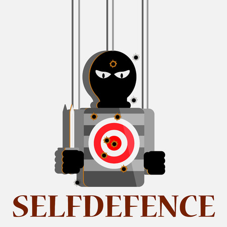 gun holes: target shooting selfdefence concept vector poster Illustration
