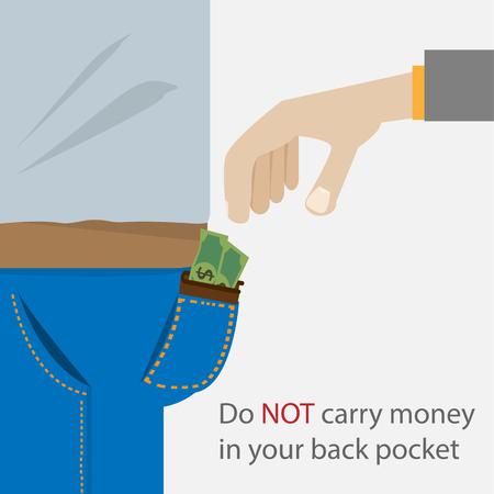 ladrón: El bolsillo trasero y la mano del ladr�n. Cartel del concepto de vector vida segura. Vectores