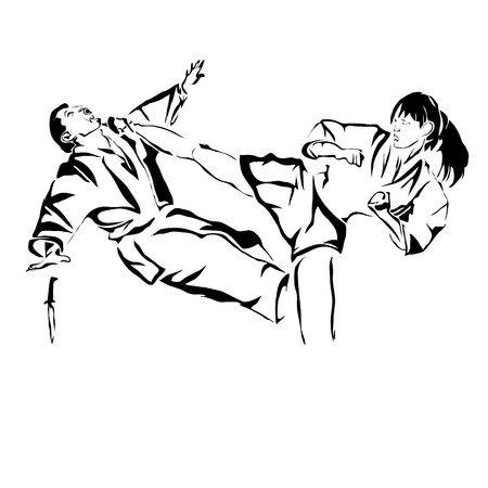 Woman's selfdefence outline vector image. Can be use for logo and poster.