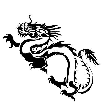 vector image: Outline dragon vector image. Can be use for  and tattoo