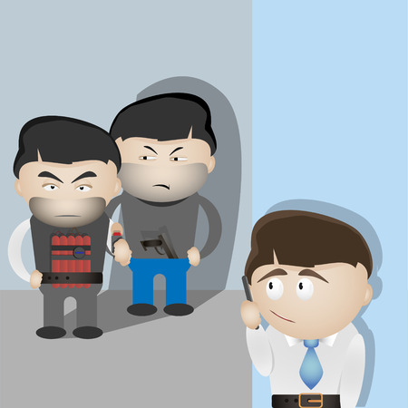 scared man: Terrorists and scared man. Basic safety concept vector image. Illustration