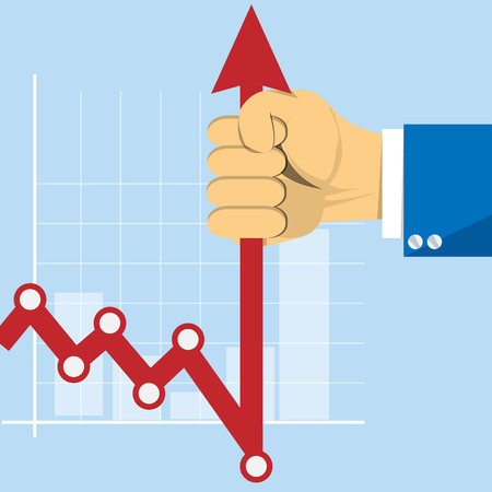 stockbroker: Hand with business graph arrow. Concept stockbroker profession vector image Illustration