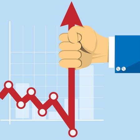 stockbroker: Hand with business graph arrow. Concept stockbroker profession vector image Illustration