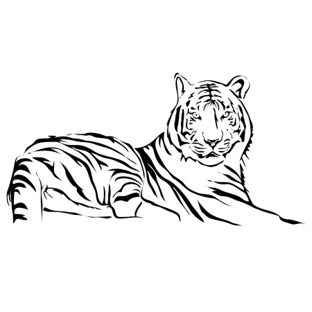 Outline lying tiger vector image. Can be use for and tattoo