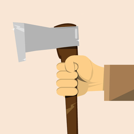 woodcutter: Hand with axe. Concept woodcutter profession vector image Illustration