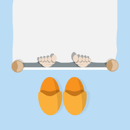 foots: Foots in a bed and pair of slippers vector image Illustration