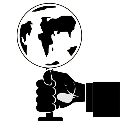 globe logo: Modern outline hand with earth globe vector image. Can be use for logo, poster and background. Illustration