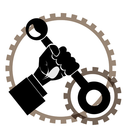 lever: Modern outline hand with lever and gears vector image. Can be use for , poster and background.