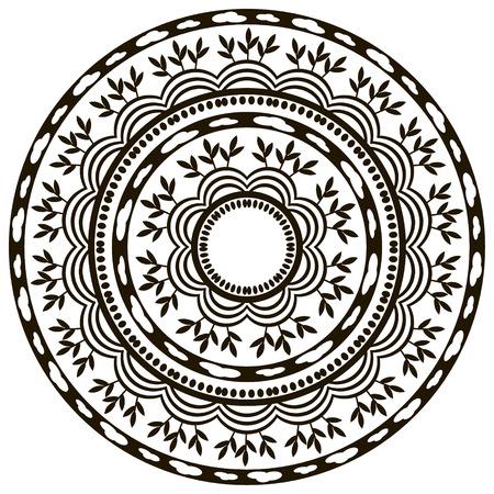 vedic: Ethnic round ornament vector image. Illustration