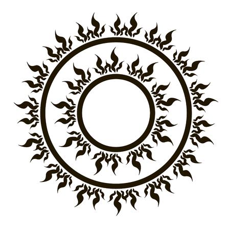 vedic: Ethnic fire sun swirl round ornament vector image.