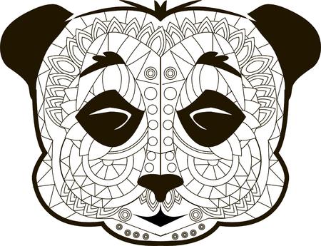 image vectorielle Line pour l'art thérapie avec panda. Vecteurs
