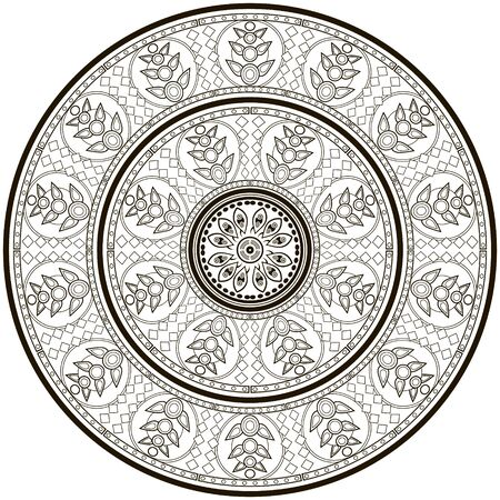 vedic: Ethnic round ornament for art-therapy vector image.
