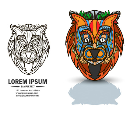 vedic: Creative multicolor and black and white logo and brandbook elements with lion.