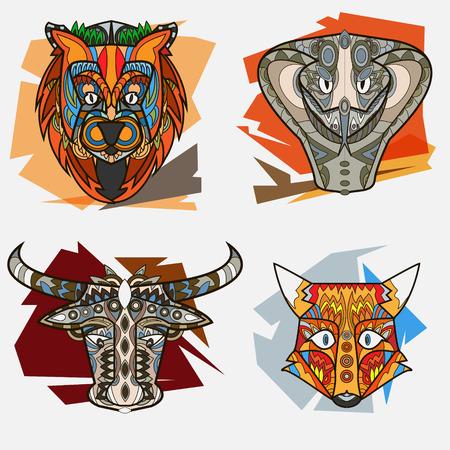 Conjunto de la ilustración del vector de los animales tótem multicolor africano. Ilustración de vector