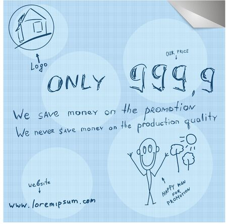 unusually: Modern unusually simple hand draw promotion poster vector image.