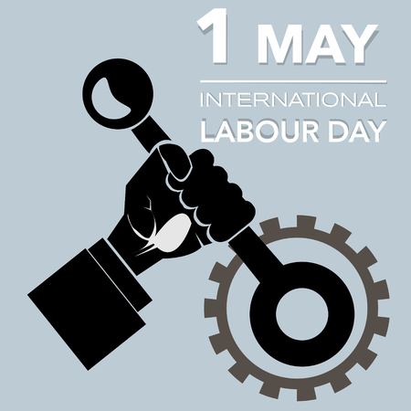 lever: Outline Hand with lever international labour day vector illustration