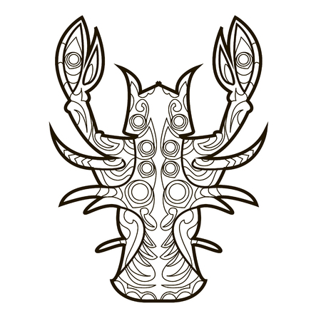 crawfish: Line vector image for art therapy with crawfish Illustration