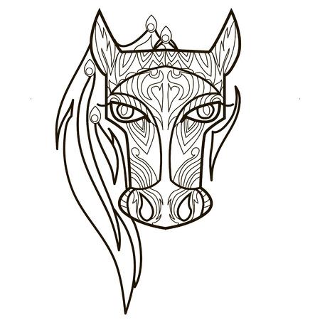 Línea imagen vectorial para terapia de arte con caballo