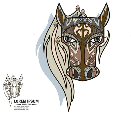vedic: Creative multicolor and black and white logo and brandbook elements with horse