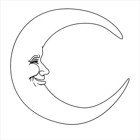 croissant de lune avec visage humain simple, illustration vectorielle tirée par la main