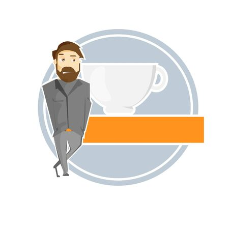 hot drink: Cartoon hand drawn man in suit with hot drink cup banner vector illustration Illustration