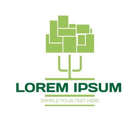 construction firm: Modern urban tree logo vector illustration