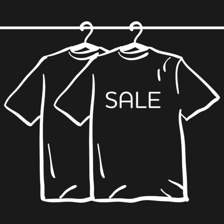 display size: t-shirt on a hanger on a black background. Sale concept simple hand drawn sketch vector illusration