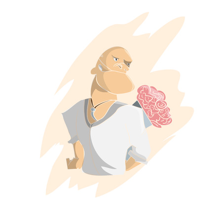 macho: Cartoon hand drawn macho man with flowers bouquet vector illustration