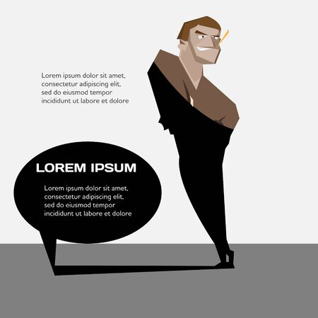 macho man: Cartoon macho man with creative speech bubble banner vector illustration
