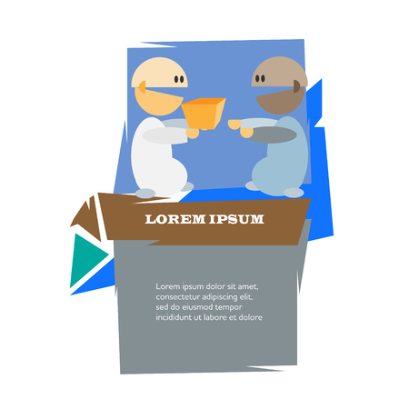 ordering: Two cartoon men with present vector illustration. Ordering and delivery concept poster.