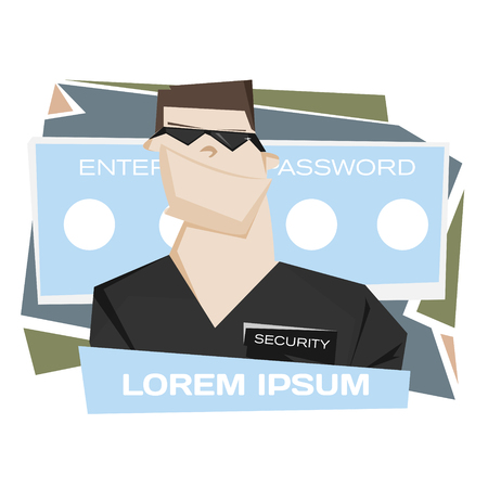 security man: Cartoon security man with sunglasses vector illustration. Web data base secure concept poster.