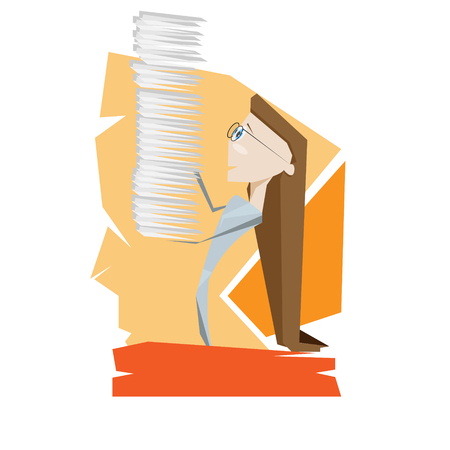 office work: Cartoon beautiful young woman with business paper office hard work concept vector illustration