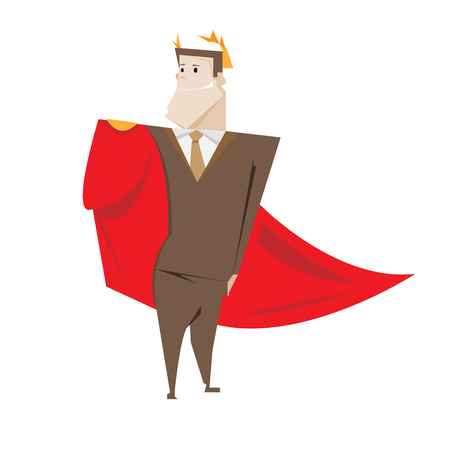 cloak: Successful winner businessman in Imperial cloak vector illustration isolated over white.