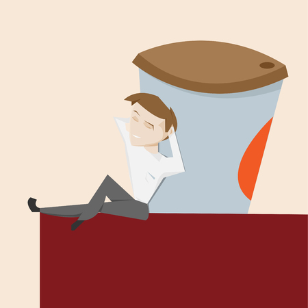 drink coffee: Happy cartoon man and big cup take away hot drink vector illustration