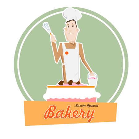 cook cartoon: Cartoon cook man and big cake vector illusration. Fresh bakery concept image