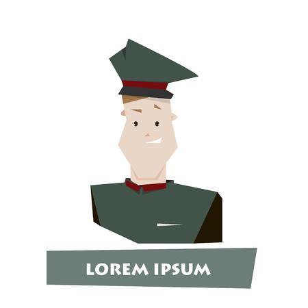 porter: Cartoon man porter character vector illustration isolated over white
