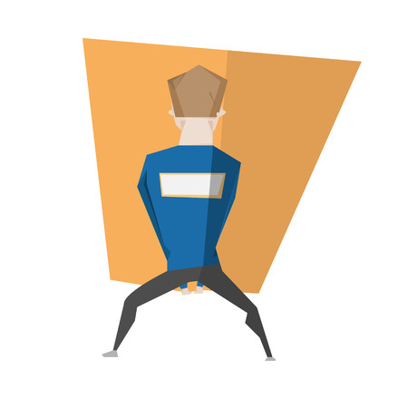 back view man: Cartoon man back side view with big box vector illustration isolated over white