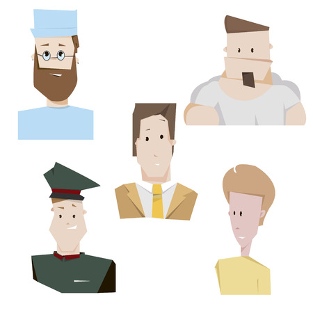 proffessional: Cartoon characters people set vector illustration. Proffessional people poster