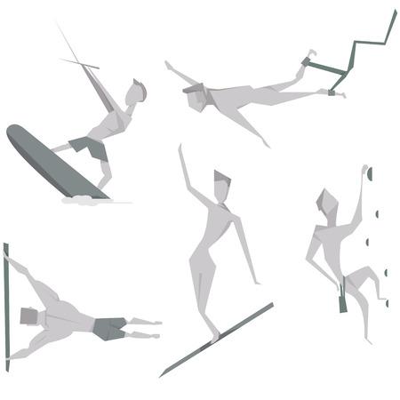 bungee jumping: Conjunto de dibujos animados gente extrema carácter ilustración vectorial. deportivas y de ocio concepto iconos activos. Vectores