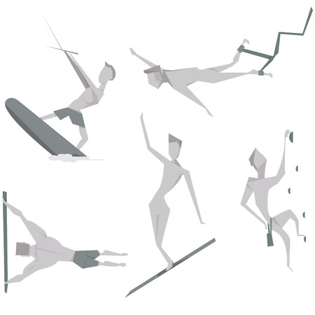 jumping people: Set cartoon extreme people character vector illustration. Active sport and entertainment  concept icons.