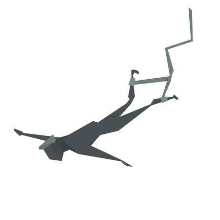 bungee jumping: elástica hombre ilustración vectorial de dibujos animados de salto