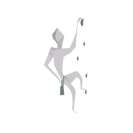 cliff edge: Cartoon man climbing concept vector image isolated over white Illustration