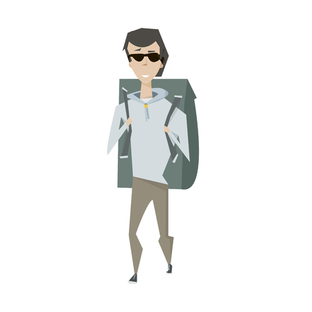 extremal: Cartoon travel man with big backpack vector illustration isolated over white Illustration