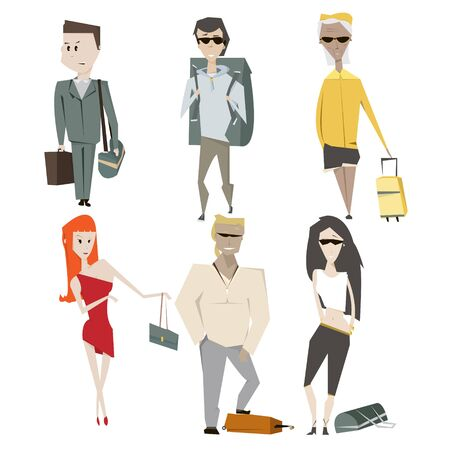 pensionary: Set cartoon people summer vacation and travel concept vector illustration