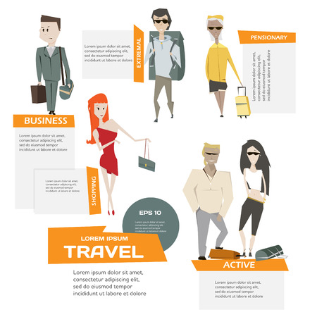 pensionary: Cartoon people characters set vector illustration. Different types of travel concept infographic design. Illustration