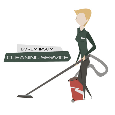 cleaning crew: Cartoon young woman with vacuum cleaner vector illustration. Cleaning service concept poster.