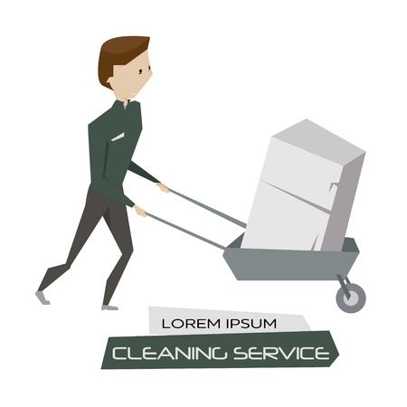 cleaning crew: Cartoon young man with cart and broken device vector illustration. Cleaning and garbage disposal service concept poster. Illustration