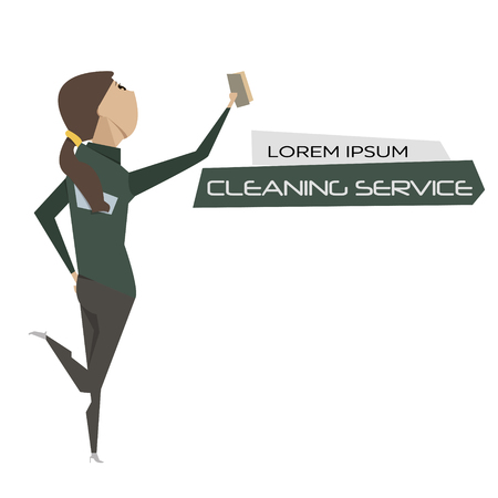 cleaning crew: Cartoon young woman cleaner vector illustration. Cleaning service concept poster. Illustration